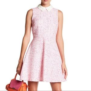 CeCe Pink Tweed Pearl Collar Dress